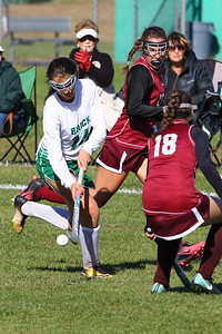 Alyssa Carlucci (left) from Brick gets past a couple of South Toms River defenders as Brick Township High School hosted Toms River South High School in a girls varsity field hockey game at Brick on Tuesday October 25, 2018. (MARK R. SULLIVAN/THE OCEAN STAR)