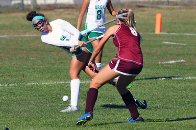 Mikayla Oliveira (left) knock the ball up field as Brick Township High School hosted Toms River South High School in a girls varsity field hockey game at Brick on Tuesday October 25, 2018. (MARK R. SULLIVAN/THE OCEAN STAR)