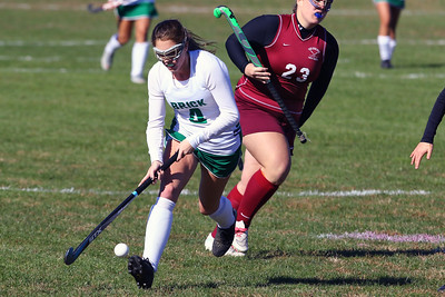 Alexis Franco (left) from Brick makes her way up field as  Brick Township High School hosted Toms River South High School in a girls varsity field hockey game at Brick on Tuesday October 25, 2018. (MARK R. SULLIVAN/THE OCEAN STAR)