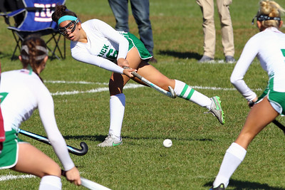Mikayla Oliveira (center) from Brick knocks the ball to team mates as Brick Township High School hosted Toms River South High School in a girls varsity field hockey game at Brick on Tuesday October 25, 2018. (MARK R. SULLIVAN/THE OCEAN STAR)
