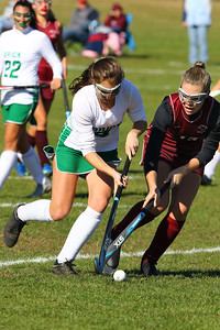 Alexis Franco (left) from Brick battles with a South Toms River defender as Brick Township High School hosted Toms River South High School in a girls varsity field hockey game at Brick on Tuesday October 25, 2018. (MARK R. SULLIVAN/THE OCEAN STAR)