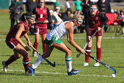 Lily Sherry from Brick (center) spilts the defensive of South Toms River as Brick Township High School hosted Toms River South High School in a girls varsity field hockey game at Brick on Tuesday October 25, 2018. (MARK R. SULLIVAN/THE OCEAN STAR)