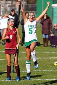 Lily Sherry (right0 from Brick celebrates her first half goal as  Brick Township High School hosted Toms River South High School in a girls varsity field hockey game at Brick on Tuesday October 25, 2018. (MARK R. SULLIVAN/THE OCEAN STAR)