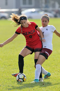 Toni Abdy (left) from Point Pleasant Beach battles with South River's Neriah Figuerou (right) as South River High School headed down to the Shore to take on Point Pleasant Beach High School in the 2nd round of the NJSIAA Girls Soccer Tournament held in Point Pleasant Beach on Thursday November 1, 2018. (MARK R. SULLIVAN/THE OCEAN STAR)