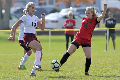 Daryl Monticello (right) from Point Pleasant beach gets her foot on the ball ahead of South River's Ashley Fischier as South River High School headed down to the Shore to take on Point Pleasant Beach High School in the 2nd round of the NJSIAA Girls Soccer Tournament held in Point Pleasant Beach on Thursday November 1, 2018. (MARK R. SULLIVAN/THE OCEAN STAR)