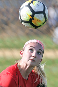 McKayla Hughes from Point Pleasant Beach keeps her eyes on the ball right before she heads the ball as South River High School headed down to the Shore to take on Point Pleasant Beach High School in the 2nd round of the NJSIAA Girls Soccer Tournament held in Point Pleasant Beach on Thursday November 1, 2018. (MARK R. SULLIVAN/THE OCEAN STAR)