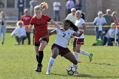 Daryl Monticello (left) from Point Pleasant Beach battles with South River's Kayla Smith as South River High School headed down to the Shore to take on Point Pleasant Beach High School in the 2nd round of the NJSIAA Girls Soccer Tournament held in Point Pleasant Beach on Thursday November 1, 2018. (MARK R. SULLIVAN/THE OCEAN STAR)
