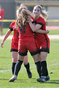 McKayla Hughes from Point Pleasant Beach (right) celebrates one of her first half goal with team mates as South River High School headed down to the Shore to take on Point Pleasant Beach High School in the 2nd round of the NJSIAA Girls Soccer Tournament held in Point Pleasant Beach on Thursday November 1, 2018. (MARK R. SULLIVAN/THE OCEAN STAR)