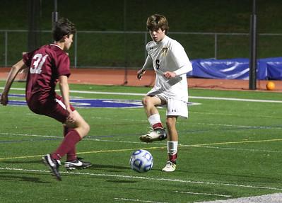 no.6, Matt Deluca St. Rose High Scholl boys soccer v/s Trinity Hall in Holmdel,NJ on 11/8/18. [DANIELLA HEMINGHAUS | THE COAST STAR]