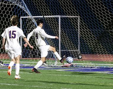 no.14, Jonathan Caputo's goal St. Rose High Scholl boys soccer v/s Trinity Hall in Holmdel,NJ on 11/8/18. [DANIELLA HEMINGHAUS | THE COAST STAR]