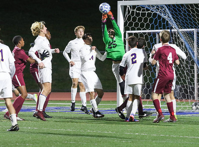 goalkeeper, Nick Forlano St. Rose High Scholl boys soccer v/s Trinity Hall in Holmdel,NJ on 11/8/18. [DANIELLA HEMINGHAUS | THE COAST STAR]