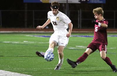 no.22, Matt Forlenza St. Rose High Scholl boys soccer v/s Trinity Hall in Holmdel,NJ on 11/8/18. [DANIELLA HEMINGHAUS | THE COAST STAR]