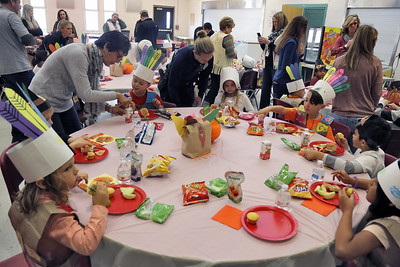 Kindergarten students and their parents held a Thanksgiving feast at the G. Harold Antrim Elementary School in Point Pleasant beach on Wednesday November 21,2018. (MARK R. SULLIVAN/THE OCEAN STAR)