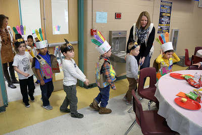 Kindergarten students and their parents held a Thanksgiving feast at the G. Harold Antrim Elementary School in Point Pleasant beach on Wednesday November 21,2018. Students were dressed as pilgrims and indians as they were treated to turkey sandwiches and other Thanksgiving entries. (MARK R. SULLIVAN/THE OCEAN STAR)