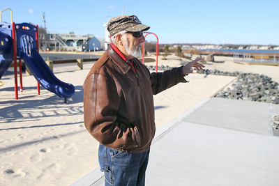 Greg Kucharewski of Brick Township heads the PlayHook-e from PTSD, Take A Veteran Fishing and is photographed at the Point Pleasant Beach Inlet on December 7, 2018. (MARK R. SULLIVAN /THE OCEAN STAR)