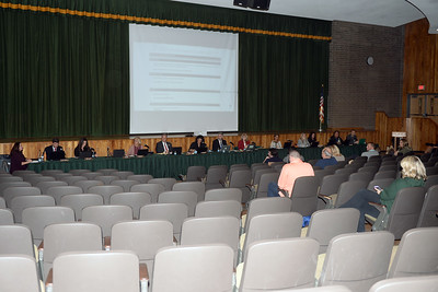 "The Brick Township, New Jersey Board of Education meeting was virtually devoid of an audience after hundreds of Brick Township Teachers wearing ""No Contract"" buttons silently left the meeting on 12/13/2018. (STEVE WEXLER/THE OCEAN STAR)."