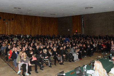 "The Brick Township Board of Education meeting held at Brick Memorial High School, in Brick, New Jersey meeting was standing room only with hundreds of Brick Teachers wearing ""No Contract"" buttons silently left the meeting on 12/13/201`8. (STEVE WEXLER/THE OCEAN STAR)."