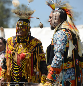 Giles Bullshields, of the Blackfoot Blood tribe or Kainai Nation, smiles during a break with Paul Flores IV, of San Jose, Saturday, May 27, 2017, during the Oroville Pow Wow at Gold Country Casino in Oroville, California. (Dan Reidel -- Enterprise-Record)