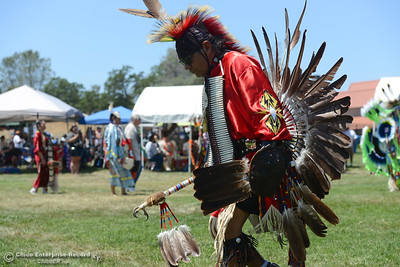 Drummers beat the rhythm and people dance Saturday, May 27, 2017, during the Oroville Pow Wow at Gold Country Casino in Oroville, California. (Dan Reidel -- Enterprise-Record)