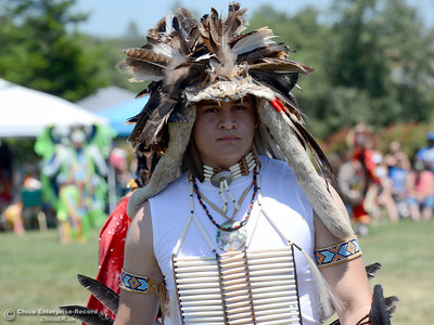 Elias Avelar, 16, of Olivehurst, takes a break from dancing Saturday, May 27, 2017, during the Oroville Pow Wow at Gold Country Casino in Oroville, California. (Dan Reidel -- Enterprise-Record)
