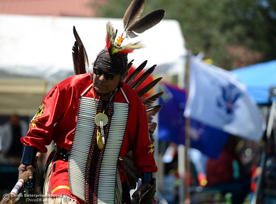 Louis Leonard, of Lone Pine and the Shoshone Pauite tribe, dances Saturday, May 27, 2017, during the Oroville Pow Wow at Gold Country Casino in Oroville, California. (Dan Reidel -- Enterprise-Record)