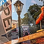 Birds, Street Lamp, Banners