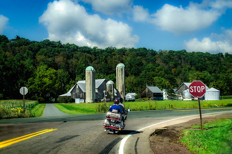 Farm, Motorcycle, Stop Sign