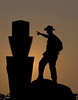 Photographer and 99th Pennsylvania Infantry Monument located atop Devils Den, Gettysburg Battlefield