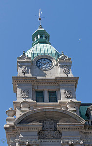 Ancient Clock Tower of Sinclair Centre in Vancouver - Shopping Mall in Vancouver, British Columbia, Canada