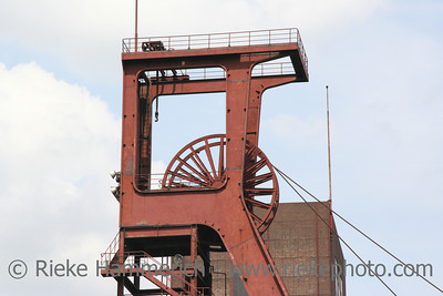 Shaft 1/2/8 of a famous coal-mine wide-angle against blue sky Zollverein - World Heritage Center and industrial culture site Built between 1928 and 1932, closed 1986