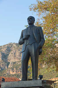 Statue of Mustafa Kemal Ataturk - Founder and first president of the Turkish Republic - Public Town Square named Cumhuriyet Meydani in Kas, Antalya Province, Turkey, Asia