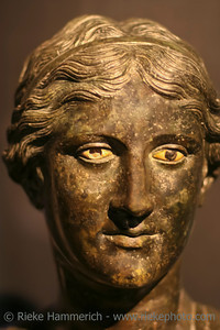Bronze statue of a roman woman - Excavated at Herculaneum near Pompejii. Both cities near Naples in Italy were destroyed by the eruption of Vesuvius in 79AD.