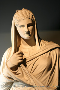 Marble statue of roman woman - Excavated at Herculaneum near Pompejii. Both cities near Naples in Italy were destroyed by the eruption of Vesuvius in 79AD.