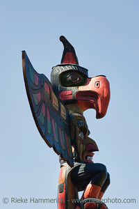 Totem Pole with blue Sky –Victoria, Vancouver Island, British Columbia, Canada