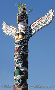 Totem Pole against blue Sky