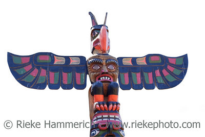 Totem Pole on white Background – Victoria, Vancouver Island, British Columbia, Canada