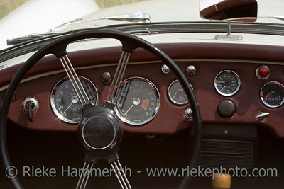 Vintage MG - British Car - Dashboard and Wheel Closeup