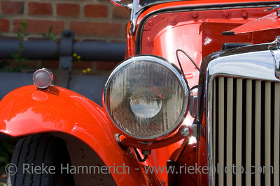 Vintage MG Closeup of Headlight - Wing and Grille
