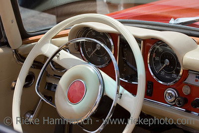 Vintage Mercedes-Benz - German Car - Dashboard and Wheel Closeup