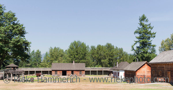 Fort Langley with Log Cabins and fortified Wall – Langley, British Columbia, Canada