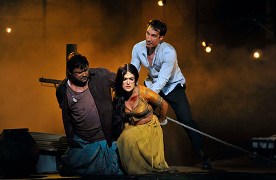 ENO The Pearl Fishers Robert McPherson, Claudia Boyle and Jacques Imbrailo (c) Robbie Jack