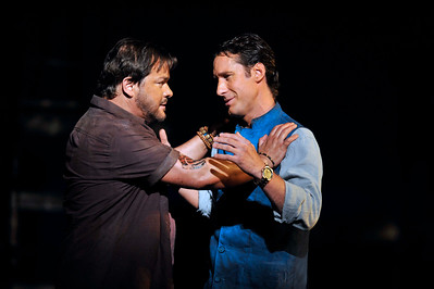ENO The Pearl Fishers Robert McPherson and Jacques Imbrailo (c) Robbie Jack