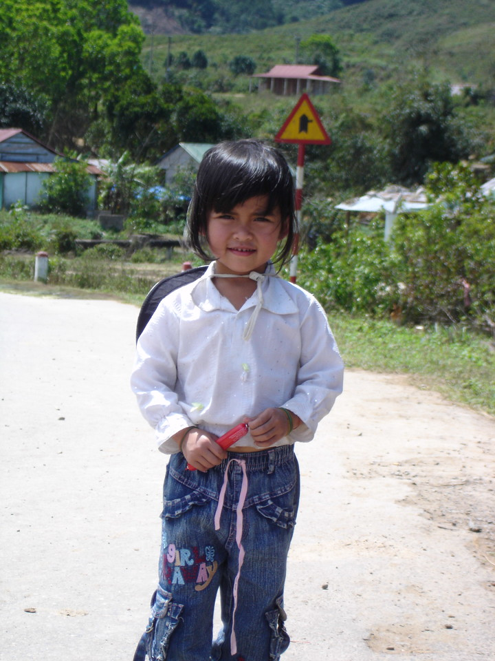 We came across this little girl in the middle of the A Shau Valley.