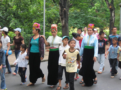 Ladies from one of Vietnam's northern ethnic minority groups, in Ha Noi to visit Ho Chi Minh's Mausoleum.