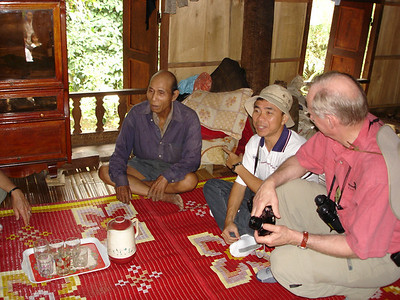 We are meeting with a Bru village chief inside of his home.  The village is located just north of the Da Krong Bridge along Highway 9 in the Khe Sanh area.