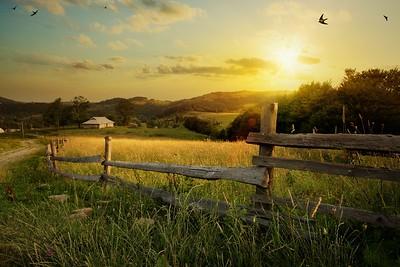art countryside landscape; rural farm and farmland field