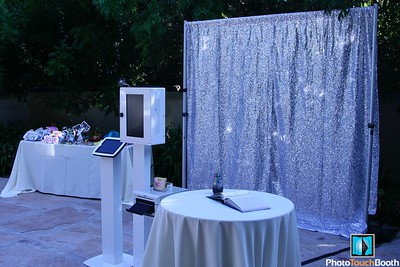Our Silver Glitz Backdrop for a wedding at Eden Gardens Moorpark.