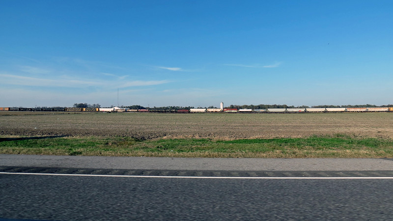 The scenery changed somewhat when I crossed into Louisiana.  Wide open spaces became the rule.  I spotted a train near Delta, LA.
