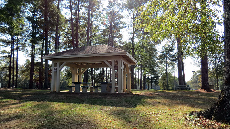 Along with the main building, several picnic shelters had been built throughout.