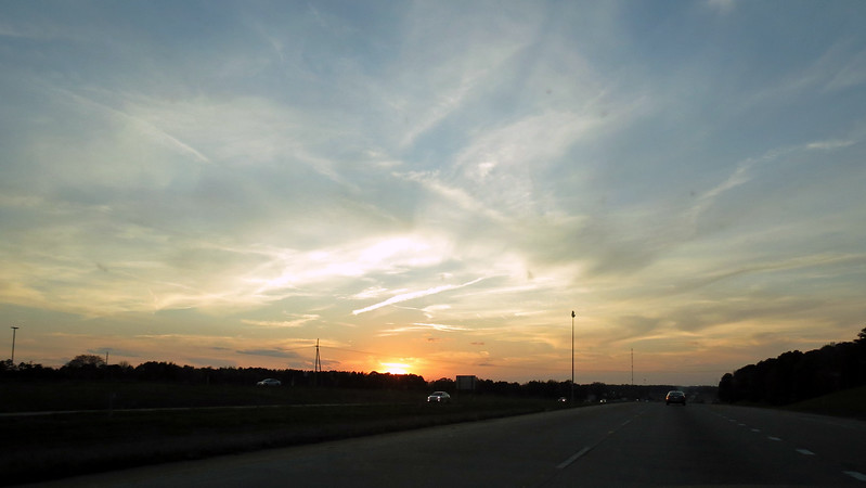Familiar scenery returned once past Monroe, Louisiana.  I was able to snap a few pics of the sunset outside of Ruston, LA.